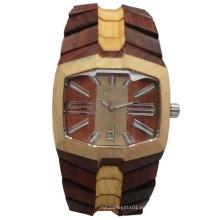 Reloj de pulsera de alta calidad Hlw091 OEM de madera y reloj de pulsera de bambú para hombres