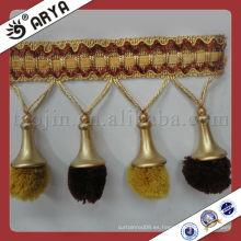 Hermosa franja de cortina de pompón, franja decorativa de recorte utilizada para los accesorios de cortina para la decoración del hogar