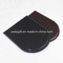 Tapis de souris avec poignet personnalisé noir / marron PU tapis de souris en cuir en gros