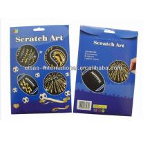 8pcs niños creativos Scratch art paper Scratch off diseño de la tarjeta de la forma de la pelota deportiva