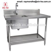 Fregadero de dos compartimientos comercial con el tablero de drenaje, acero inoxidable Mesa de trabajo de fregadero doble de cocina de acero inoxidable con el estante