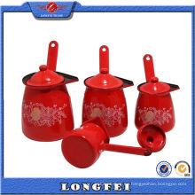 Calentador de café de color rojo esmalte puede con tapa
