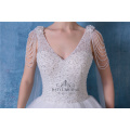 Long train princess white wedding dress removable bridal gowns 2018 Bridal Dress with shawl