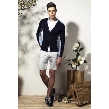 100%Cotton V-Neck Knit Men Cardigan Sweater with Pockets
