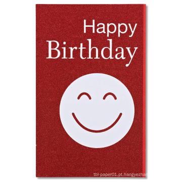 Cartão feliz do convite do brilho do cartão do convite da festa de anos da cara vermelha do smiley