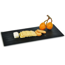"Plastic Plate Disposable Tray 16""Black Rectangular Stone Plate"