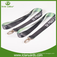 Popular airlines buckle polyester material black plain lanyard