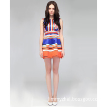 Western Colorful Stripe Short Women Casual Dress