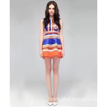 Western Colorful Stripe Short Women Casual Dress