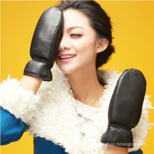 ZF2879 Women's Black Leather Mittens with Finger Liners