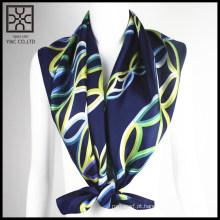 2015 moda azul escuro quadrado cachecol de seda impressa