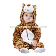 Bébé doux Barboteuse Animal Onesie Costume Cartoon Outfit Homewear dormir porter, flanelle, mini léopard-bébé, mignon à capuchon serviette