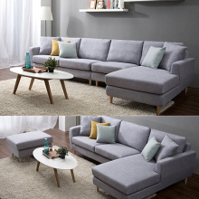 Wooden Arm Lounge Couch Fabric Sofa Set