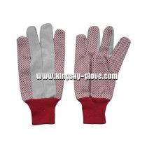 Luva de algodão pontilhada vermelho PVC de pulso vermelho de malha-2207