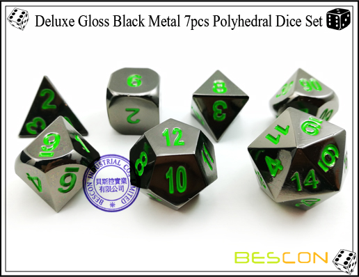 Deluxe Gloss Black Metal 7pcs Polyhedral Dice Set-4