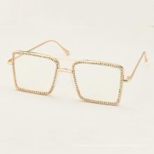2020 Fashion sunglasses women Luxury Rhinestone square Sun glasses clear lens  sunglasses Vintage Shades lentes de sol