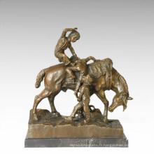 Enfants Figure Statue Cheval Enfant Bronze Sculpture TPE-353