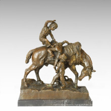 Kids Figure Statue Horse Children Bronze Sculpture TPE-353