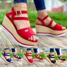 Superstarer Fashion High Platform Sandals Thick Bottom Belt Buckle High Heel Wedge Sandal for Women