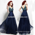 V-обратно V-образным вырезом тяжелых бисером Королевский синий вечернее платье Гуанчжоу