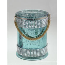 New Fashion Diamond Cylinder with Hemp Rope Candle Holder