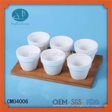 Copo de cerâmica branca, copos de cerâmica com bandeja de bambu, copos de café com bandeja de madeira