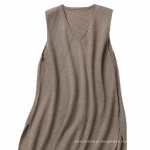 P18B13TR 100% caxemira camisola de malha camisola sem mangas senhora