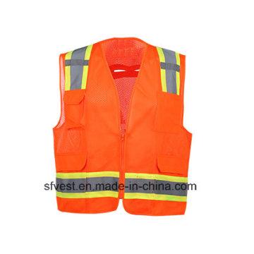 Colete de segurança reflexivo de alta visibilidade com malha de poliéster