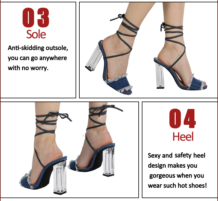 cowboy leather lace strap high heels sandals