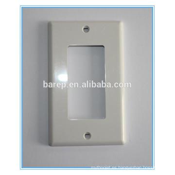 Decora de 1 unidad / Decodificador de dispositivo GFCI Placa de pared, Tamaño estándar, Termofraguado, Montaje del dispositivo, Blanco