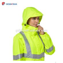 Veste réfléchissante jaune de sécurité d'hiver de dames et pantalon de haute visibilité