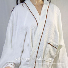 White bleached poly cotton waffle kimono bathrobe with color piping