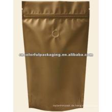 Aufstehen Verpackungsbeutel aus Aluminiumfolie für Lebensmittel oder Gebrauchsgegenstände mit Ventil