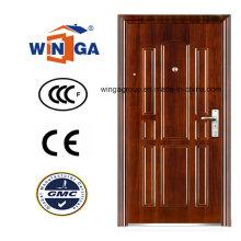 Puerta de acero del metal de la seguridad de la entrada del color marrón polaco (WS-124)