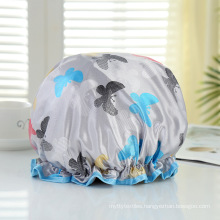 Manufacturer Bath Accessories Dual Layer PE Fabric Inner Women Bath Cap Custom Reusable Waterproof Satin Shower Cap with Elastic