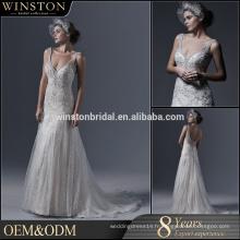 Haute qualité perles décoration sangle sirène robe de mariée image réelle
