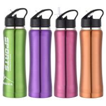16oz Wilde Mund tragbare wiederverwendbare Edelstahl heiße und kalte Wasserflasche mit Flip Stroh