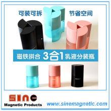 Creativo al aire libre botella de embalaje de empuje tres en uno magnética para emulsión / champú / gel de ducha