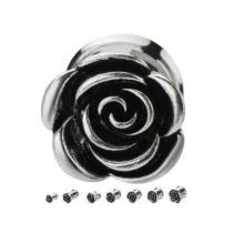 Metal Rose Double Flare Plugs Ear Tunnels