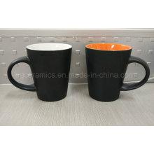 Taza de cerámica de dos tonos, taza de cerámica acabada mate, taza de café