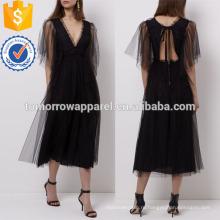 Черный тюль Миди платье Производство Оптовая продажа женской одежды (TA4055D)