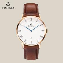 Relógio clássico para homens com cinto de couro marrom 72012