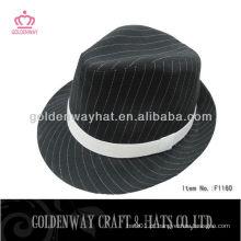 Black and white strip chapéu clássico de fedora atacado