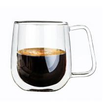 Transparente Hitzebeständigkeits-Glas-Kaffeetasse Doppelwand-Milch-Saft-Schale