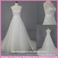 WD6030 Tela de qualidade boa qualidade de exportação artesanal uma linha de cristal floral com contas vestido de noiva aberto