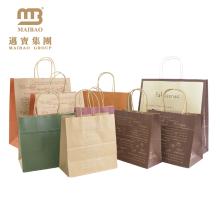 China O logotipo feito sob encomenda resistente imprimiu o bolo de alimento da padaria / pão leva o saco de papel de embalagem com punho