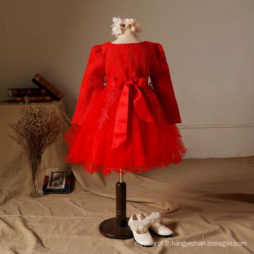 Filles robes de soirée robe en coton pour l'hiver broderie chinese nouvel an célébration fête robes de vêtements rouges dansant
