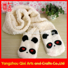 Cute panda head animal plush scarf embroidery winter scarf factory china