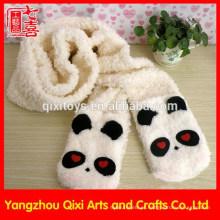 Bonito panda cabeça animal plush scarf bordado inverno cachecol fábrica china