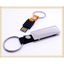 2015 neues silbernes Leder Keychain USB-Blitz Pendrive (EL011)